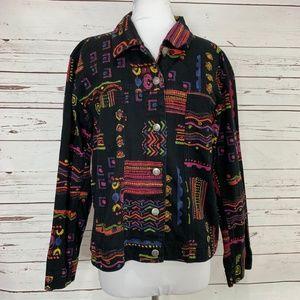 Chicos Design Size 2 Black Pink Jacket